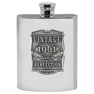 English Pewter Company Vintage Years 1961 60th Birthday or Anniversary Pewter Liquor Hip Flask - Unique Gift Idea For Men