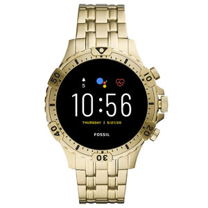 Fossil Mens Gen 5 Garrett Stainless Steel Touchscreen Smartwatch with Speaker, Heart Rate, GPS, Contactless Payments, and Smartphone Notifications