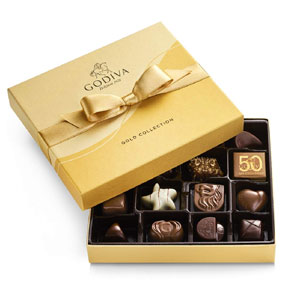GODIVA Chocolatier Chocolate Gold Gift Box, Assorted, 19 Count
