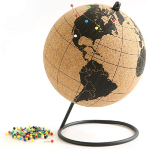 Globe Trekkers - Mini Cork Globe with 50 Different Colored Push Pins & Durable Stainless Steel Base | Great for Mapping Travels & Educational Purposes | Does Not Have Plastic Strip Like Most