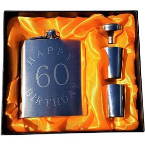 Happy 60th Birthday - Silver 7 oz Flask Gift Set