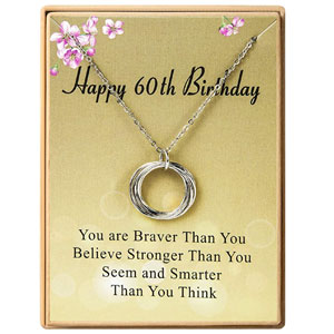 Happy Birthday Gifts Necklace Circles Pendant Necklace Birthday Gift for Women Girls 21st 30th 40th 50th 60th 70th 80th