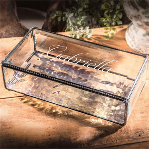 J Devlin Box 830 EB304 Personalized Large Clear Beveled Glass Box Engraved Jewelry Keepsake Display Home Décor