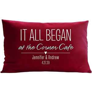 Lets Make Memories Personalized Throw Pillow - Where It All Began Quote - Customize with Your Name - Custom Pillow - Red - 12X18
