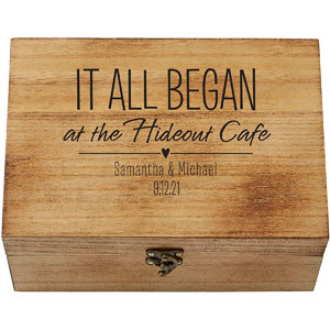 """Lets Make Memories Where It All Began Memento Box - Artfully Crafted Keepsake Case - Celebrate Love - Wood with Black Suede Lining - 9"""" x 7"""" x 3"""""""