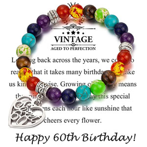 MDPOO 60th Birthday Gifts for Women Turning 60 Birthday Gifts for Women Chakra Bracelet with Message Card