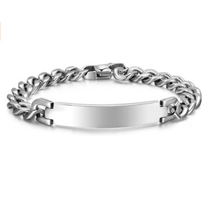 Mealguet Jewelry Free Engraving-Unisex Stainless Steel Polished Plain Curb Chain ID Identification Bracelets