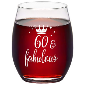 Modwnfy 60 & Fabulous Stemless Wine Glass 15 Oz, 60th Birthday Anniversary Wine Glass for Men Women Lover Friend Coworker Family, Gift Idea for Christmas Birthday Anniversary Party