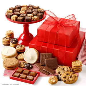 Mrs. Fields Cookies Personal Crimson Cookie Tower (89 Count) Includes 48 Nibblers Cookies, 24 Brownie Bites, 4 Original Cookies, 3 Frosted Cookies, 4 Chocolate-Covered Graham Crackers & 6 Caramels