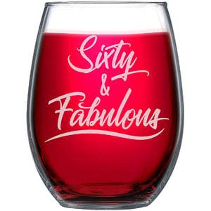 NeeNoNex Sixty & Fabulous Stemless Wine Glass - 60th Sixtieth Birthday Gift