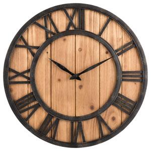 Oldtown Farmhouse Metal & Solid Wood Noiseless Wall Clock (Wood, 18-inch)