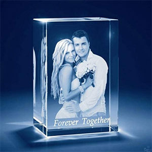 Personalized Custom 3D Holographic Photo Etched Engraved Inside The Crystal with Your Own Picture (Birthday, Wedding Gift, Memorial, Mothers Day,Valentines,Christmas)