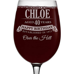 Personalized Etched 16oz Stemmed Wine Glass for Birthday Gifts, Chloe