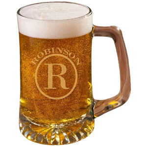 Personalized Glass Beer Mug 25oz, 60th Birthday Sports Mug with Monogram and Name (Circle Design) - Unique Valentines Day Gift for Him, Dad, Husband Boyfriend, Also Groomsmen Gifts