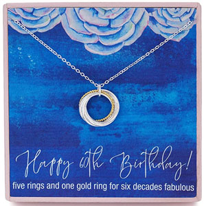 """RareLove 60th Birthday Gift For Women 925 Sterling Silver Six Circle Rings Pendant Necklace for Her Chain Adjust from 17"""" to 19"""" Extender"""