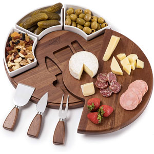 Shanik Upgraded Cheese Cutting Board Set, Acacia Wood Charcuterie Board Set, Cheese Serving Platter, Perfect Meat / Cheese Board and Utensil Set, 3 Knives, Ceramic Bowls, and Wine Server Plate