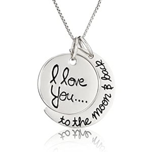 """Sterling Silver """"I love you to the moon & Back"""" Pendant Necklace, 18-Inch"""