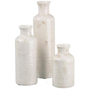 Sullivans Small Vase Set (Ceramic), Rustic Home Decor, Distressed White, Set of 3 Vases (CM2333)