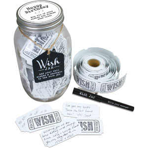 TOP SHELF Happy Birthday Wish Jar Kit with 100 Tickets, Pen, and Decorative Lid, White