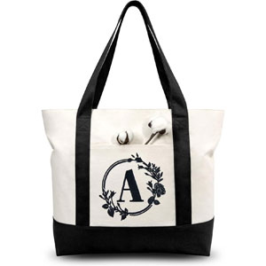 TOPDesign Stylish Personalized Embroidery Initial Canvas Tote Bag, Suitable for Weddings, Birthday, Beaches, Holiday, Bachelor Parties, is a Great Gift for Mothers, Teachers, Friends, Bridesmaids (Letter A)