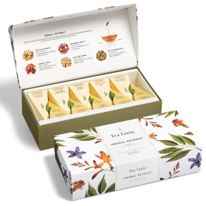 Tea Forte Herbal Retreat Petite Presentation Box Tea Sampler, Assorted Variety Tea Box, 10 Handcrafted Pyramid Tea Infusers, Relaxing Herbal Tea