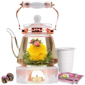 Teabloom Buckingham Palace Teapot & Flowering Tea Gift Set (6 Pieces) - Stovetop Safe Glass Teapot (40 OZ / 1.2 L / 4-5 CUPS), Porcelain Lid, Tea Warmer, Loose Tea Infuser, 2 Gourmet Rose Tea Flowers