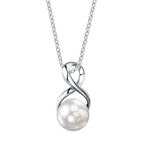 The Pearl Source Freshwater Cultured Pearl Pendant Necklace for Women with Sterling Silver Infinity Design