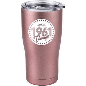Vintage 1961 60th Birthday Gifts for Women Men Insulated Stainless Steel Tumbler - 60 Year Old Presents 20 oz Best Gift for Mom Dad Wife Husband Aunt Grandma 60th Party (Rose Gold, 20 Oz)
