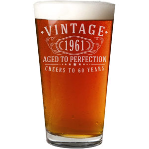 Vintage 1961 Etched 16oz Pint Beer Soda Glass - 60th Birthday Aged to Perfection - 60 years old gifts