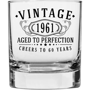 Vintage 1961 Printed 10.25oz Whiskey Glass | 60th Birthday Aged to Perfection | 60 years old gifts