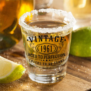 Vintage 1961 Printed 2oz - 2pk. Shot Glasses | 60th Birthday Aged to Perfection | 60 years old gifts