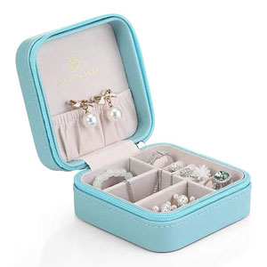 Vlando Small Travel Jewelry Box Organizer Display Case for Girls Women Gift Rings Earrings Necklaces Storage, Blue