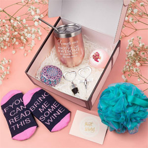 Wine Gifts for Women, Wine Tumbler Christmas Birthday Gift for Wife Sister Girlfriend Friend Lover, Wine Socks, Bottle Opener Stopper, Bath Bomb, Loofah Sponge, Scented Candle, Greeting Card Rose Gold