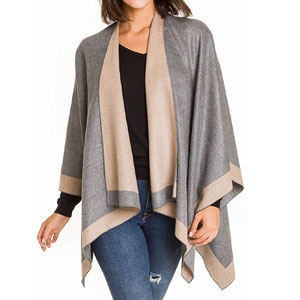 Womens Shawl Wrap Poncho Ruana Cape Cardigan Sweater Open Front for Spring Fall
