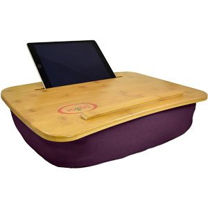 Yogibo Traybo 2.0 Lap Desk, Bamboo Top Lap Desk With Pillow for Laptop Built in Slot for Tablet or Phone, Lap Pad for Working, Reading, Writing, Lap Board, Purple